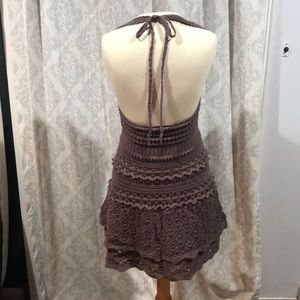 Moda International Dresses - Moda halter crocheted lined dress brown